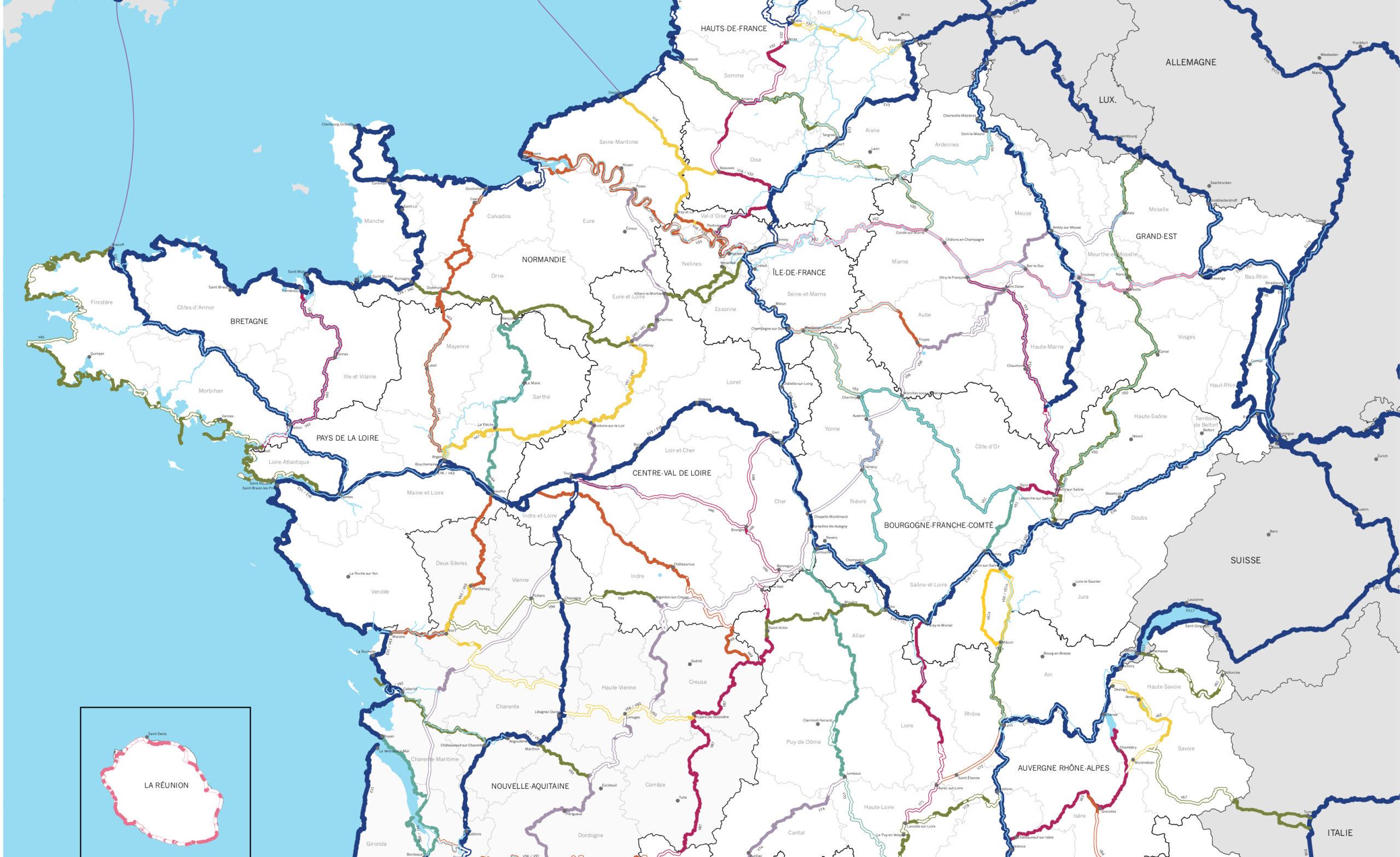 La carte du chéma national des véloroutes et voies vertes